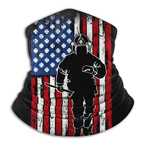 Lawenp Fireman Flag Seamless Bandanas Face Scarf Headband Scarf Headwrap Neckwarmer for Outdoors Sports Black