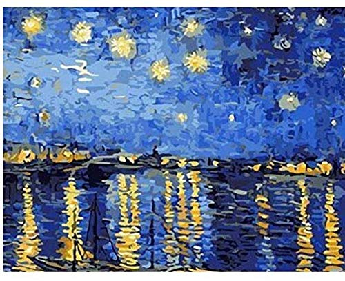 Van Gogh sternenklare Nacht über der Rhône - Malen nach Zahlen Kit für Erwachsene-No Frame