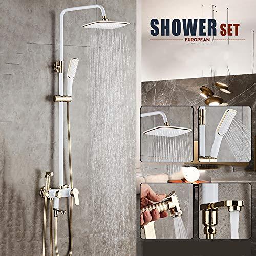 LWGHE Badezimmer-Regen Mixer Dusche Combo Set mit Regen Duschkopf und Handbrause, an der Wand befestigten Dusche-Satz für die ultimative Dusche Experienc,1
