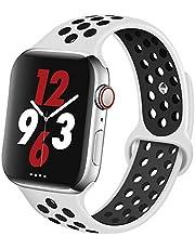 Apple Watch Silikon Kordon Spor Kayış Delikli 38mm 40mm 42mm 44mm 1 | 2 | 3 | 4 | 5 (42mm/44mm, Beyaz Siyah)