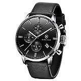 Reloj Cronógrafo para Hombre Pagani Design - Reloj De Cuarzo Impermeable con Correas De Acero Inoxidable - Reloj Deportivo Multifuncional con Vidrio Resistente a Los (Negro-2)