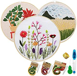 Package - 3 Sets Embroidery Starter Kit with Pattern Embroidery Kit for Beginners -Stitch Kits with Color Threads and Tools