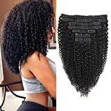 Rolisy Kinky Curly Clip in Hair Extensions Afro 3C 4A Kinky Curly Hair Clip Ins for Women Thick Soft 8A Brazilian Remy Hair,10 Inch,Black Color,10/Pcs with 20 Clips,120 Gram