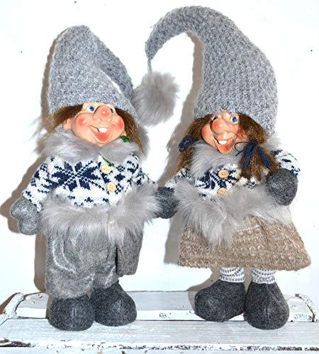 Jürgen Schleiß Konfektion Deko Figur Wichtel Gnom Zwerg grau mit Zöpfe Frau, Textil grau, 55cm, Weihnachtsdeko Weihnachtswichtel Dekofigur Winter Weihnachten stehend