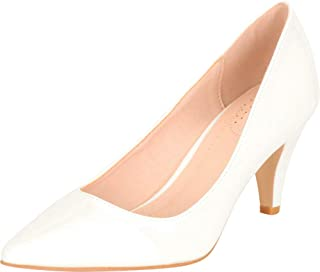 Cambridge Select Women's Classic Pointed Toe Mid Heel Pump
