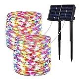 ソーラーライト電飾イルミネーション屋外ガーデンライト IP65防水10M100LED 電球間隔10cm クリスマス 学園祭 LED飾りライト 8パターン点灯モードウオームホワイト2個セット