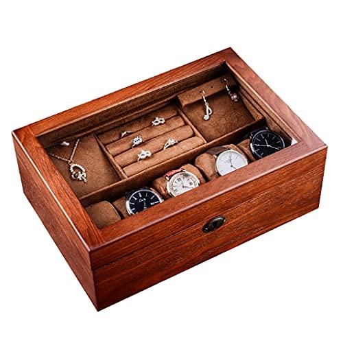 5 tragamonedas Caja de reloj de madera, pendientes, anillos, collares, caja de joyería Organizador con tapa de vidrio, caja de almacenamiento multifuncional doble doble con doble capa con bandeja de j