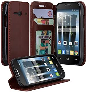 Alcatel Onetouch Pixi Eclipse Case, Onetouch Pixi Eclipse Wallet Case, Slim Flip Folio [Kickstand Feature] Pu Leather Wallet Case with ID&Credit Card Slot For Onetouch Pixi Eclipse, (Brown)