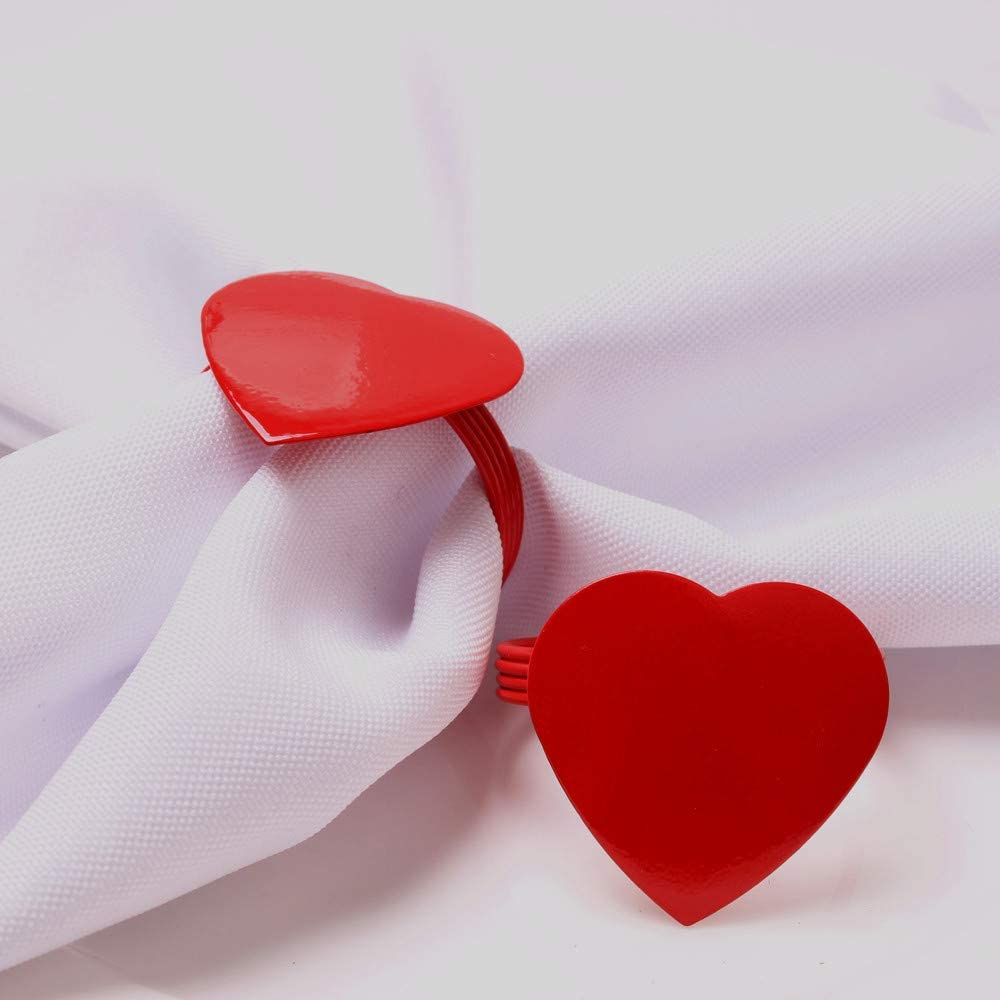 zorpia 12 Pieces Direct stock discount Red Heart Napkin Napki Holders Metal Discount mail order Ring
