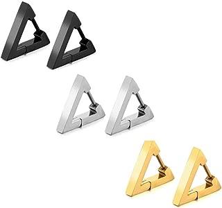 Men's Women Punk Stainless Steel Triangle Shape Design Hoop Earrings