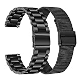 Band Sets for Fossil Men's Gen 5 Carlyle / Gen 5 Garrett Smart Watch, TRUMiRR 22mm Solid Stainless Steel Metal + Mesh Loop Strap Quick Release Watchband for Fossil Men's Gen 4 Explorist HR