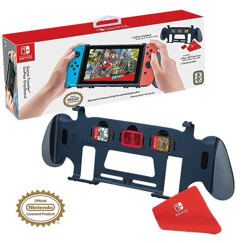 RDS Industries Nintendo Switch Licensed Goplay Grip & Stand - Maximum Comfort for Enhanced Game Play, Perfect View Stand, Stores 3 Games - Nintendo Switch