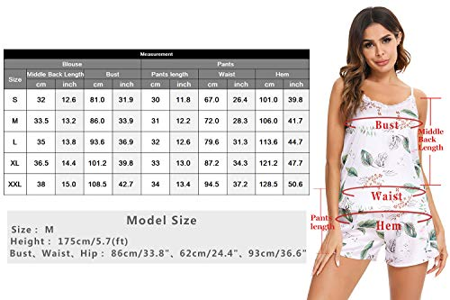Irevial Pijama Mujer Tirantes,Sexy Conjunto de Pijama Seda con Estampado de Flores,Pijama Pijama Cortos Mujer Verano