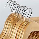 PPuujia Percha de madera 2/10 piezas de madera maciza perchas antideslizantes perchas para ropa, suéteres, perchas de vestir para el hogar (color: 2 piezas)