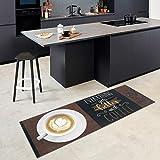 Carpet Studio Tappeto, Passatoia per Cucina & Esterni, 65x180cm, Decorazioni Casa, Sottostrato Antiscivolo, Facile da Pulire, Rifinito a Mano, Better Coffee