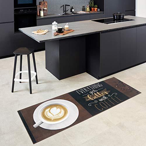 Carpet Studio Teppichläufer, Teppich für Küche, 65x180cm, Rutschfester Rücken, praktische Reinigung, per Hand fertiggestellt, Better Coffee