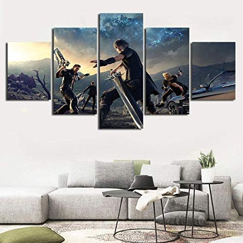 5 Pieces Game Final Fantasy Canvas Wall Art Prints Home Decor Painting for Bedroom Living Room (Unframed,10x14x2 10x20x2 10x28inch)