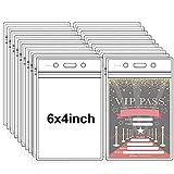 Fushing Pack de 50 plástico transparente vertical Badge titulares, nombre Tag titulares, titulares de la tarjeta (XXL)