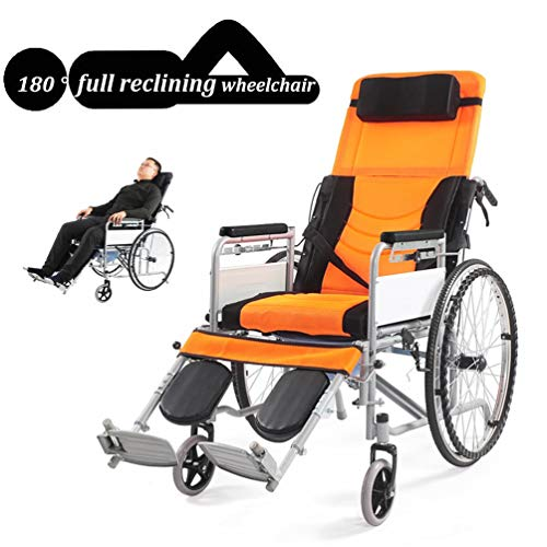 Aluminum Wheelchair Full Reclining Lightweight And Foldable Frame, Attendant-Propelled Wheelchair, Portable Transit Travel Chair Can Bear 180kg Yellow