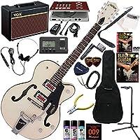 GRETSCH Electromatic エレキギター 初心者 入門 アーチトップ・ホローボディーモデル ギターの練習が楽しくなるCDトレーナー(エフェクターも内蔵)と人気のギターアンプVOX Pathfinder10が入った強力21点セット G5410T/MVW(マットビンテージホワイト)