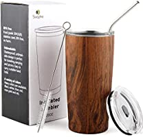20 oz Stainless Steel Tumblers with Splash Proof Lids, Straws and Brushes, Double Wall Vacuum Insulated Coffee Travel...