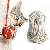 tEEZErshop Sisalseil 30M,Sisalseil für Kratzbaum,Natürliches Hanfseil Katzen Kratzbäume,Reißfeste Sisalschnur Ideal für Haushalt, Gartendekoration & Basteln und Katzen Zubehör (mit einen Ball)