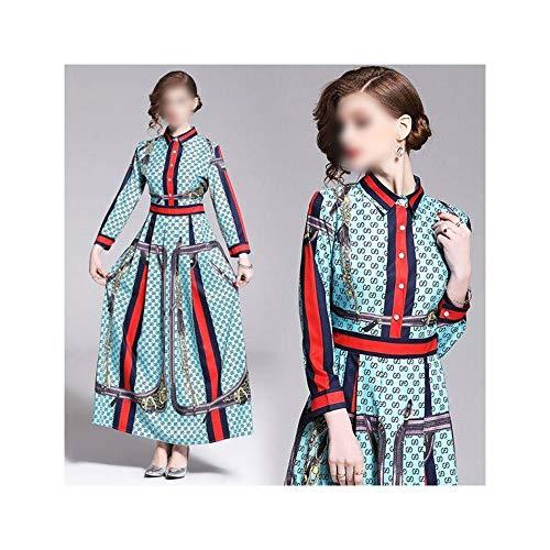 Rocke Retro Rock Overknee Rock Revers Positionierung Drucken Einreiher Langarm Kleid (Farbe : Bildfarbe, Size : 2XL)