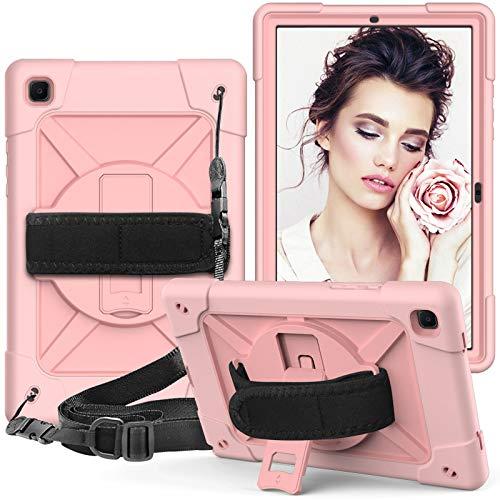 A-BEAUTY - Funda para Samsung Galaxy Tab A7 de 10,4 pulgadas de 2020 con protector de pantalla [pluma] [correa de mano], color dorado rosa