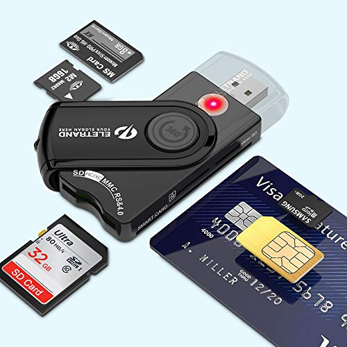Eletrand USB 2.0 Chipkartenleser | Elektronischer ID Kartenleser und CAC Smart Card Reader | SD/Micro SD/M2/MS/SIM Karten Adapter | Kompatibel con Windows (32/64bit) XP/Vista/7/8/10, Mac OS und Linux