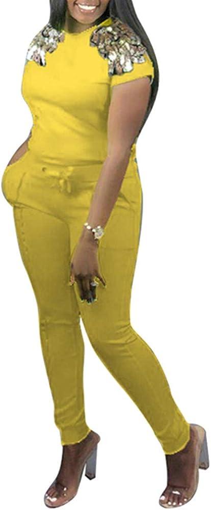 Womens Sequin 2 Piece Outfits Bodycon Long Pants Jumpsuit Set Sweatsuit S XXL