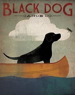 Black Dog Canoe Art Poster Print by Ryan Fowler, 22x28