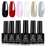 Beetles Gel Nail Polish Set, Red Black Pink White Golden Silver Glitter Soak Off Gel Nail Kit, 7.3ml Each Bottle
