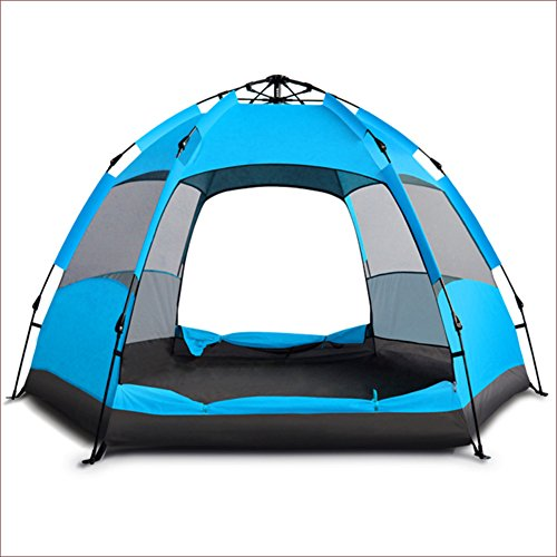 GXYLTT Camping tent Fully automatic,Double layer Hexagon Large tent Travel Outdoors Dome tent Rainproof Bbq And grill Teepee 5-8 person-blue A 270x240x155cm(106x94x61inch)