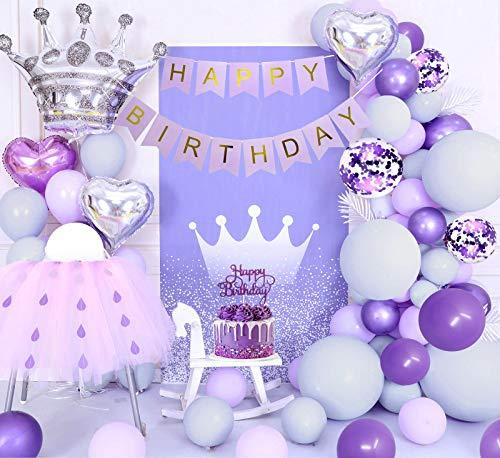 Decorazioni compleanno viola, palloncini viola pastello, palloncini grigio viola macaron, banner HAPPY BIRTHDAY, palloncini viola metallizzati, palloncini coriandoli, palloncini cuore, Cake Topper