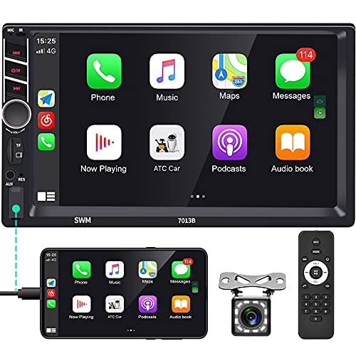 Double Din Car Stereo with Bluetooth 7 Inch HD Touchscreen in-Dash Car Radio Support FM D-Play Mirror Link for Android/iOS Phone USB/TF/Aux-in/RCA SWC Auto Radio + Backup Camera & Remote Control