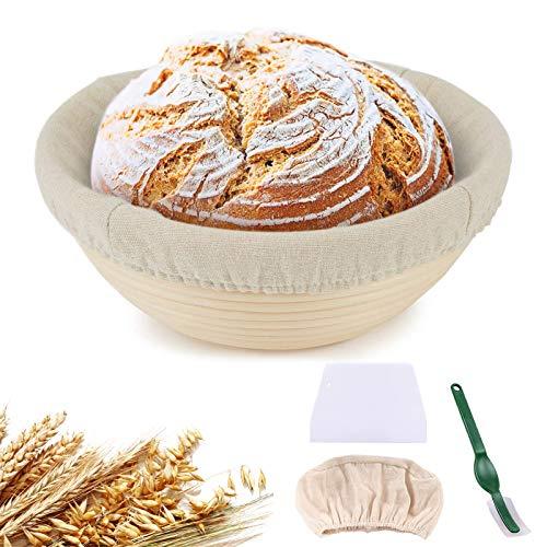N   Juego de 2 cestas de fermentación redondas, diámetro de 25 cm y 22 cm, incluye espátula y juego de lino, cesta de fermentación de tubo natural para pan casero – Cera Zero Wasta sostenible
