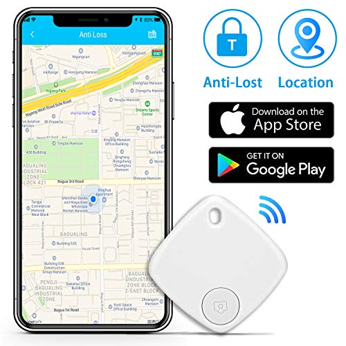 Key Finder Locator with App for Phones - Bluetooth Key Finder Smart Tracker Device for Keychain Purse Luggage Bag - Replaceable Battery Wallet Tracker Phone Finder - Anti-Lost Item Finder (White)