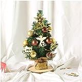 OMING Bonsáis Árbol de Navidad Artificial Mini Verde Abeto Incluir Golden Stars Cartas y Regalos de los Conos decoración y la Navidad Año Nuevo Árbol Bonsai (Color : A)