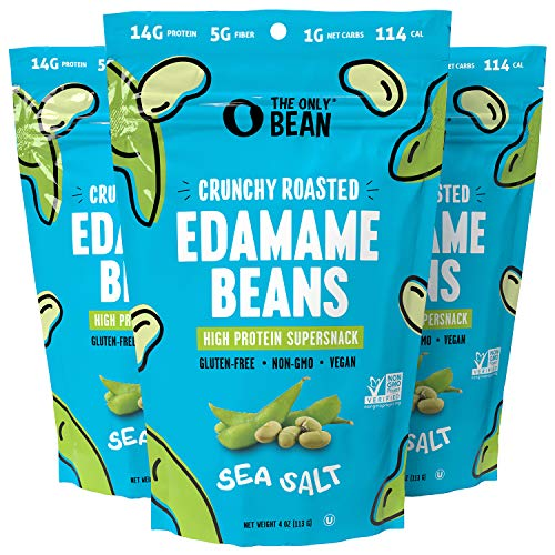 The Only Bean - Crunchy Roasted Edamame Beans (Sea Salt) - Keto Snacks (1g Net) - High Protein Healthy Snacks (14g Protein) - Low Carb & Calorie, Gluten-Free Snack, Vegan Keto Food - 4 oz (3 Pack)