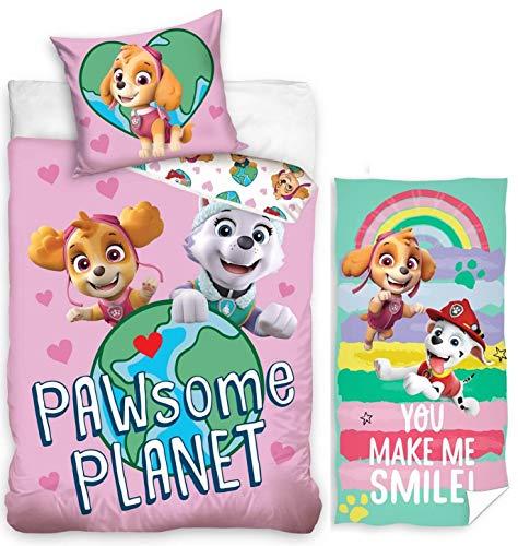 rainbowFUN.de Juego de ropa de cama reversible de la Patrulla Canina, 135 x 200 cm, toalla de 70 x 140 cm, de algodón, para niñas