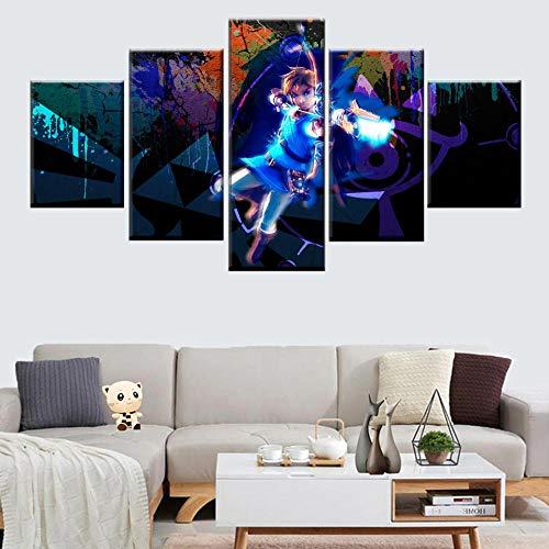 Cuadro en Lienzo Art Pictures Canvas 50x32inch 125x80cm Anime personaje chico arco y flecha Cuadro 5 Piezas Lienzo De Impresión Pinturas Modernas,Obras De Arte,Impresiones De Cuadros, Decoración De Sa
