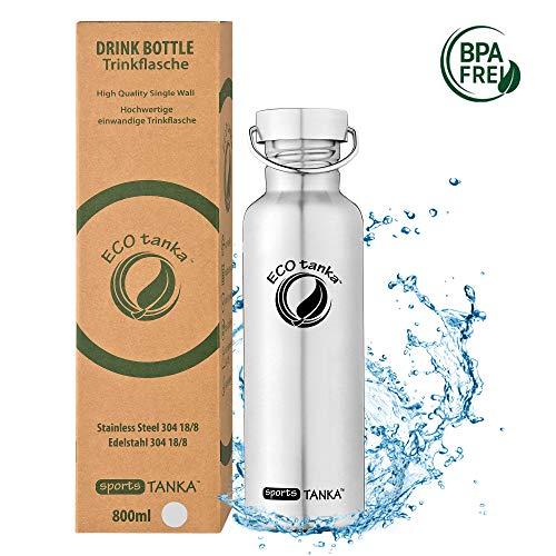ECOtanka sportsTANKA Trinkflasche aus Edelstahl 0,8 Liter auslaufsicher - Wasserflasche BPA frei mit Wave-Verschluss