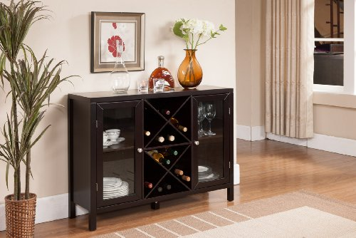 Kings Brand Furniture Wood Wine Rack Console Sideboard Table with Storage,...