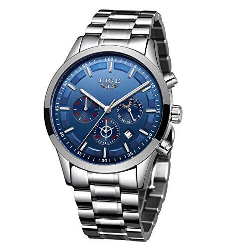 LIGE Herren Uhren Edelstahl Wasserdicht Analog Quarzuhr Herren Business Chronograph Mondphase Armbanduhr