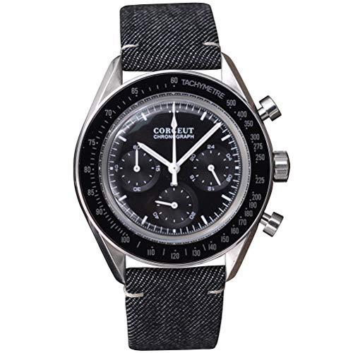 Herren Quarz Chronograph Uhr Mode Edelstahl Casual Armbanduhren, Silber