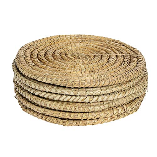 Argon Tableware Water Hyacinth Weave Placemats - 3 Designs Available - Set Of 6 - Palm Leaf