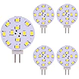 Bombilla G4 LED, 2W equivalente a bombilla halógena de 20W, 12V-24V CA/CC, CRI 85, 350LM para RV Home Reading Light 5Pack (Warmwhite)