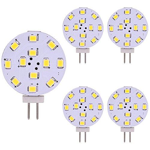 G4 LED Birne, 35 Watt Äquivalent, Bi-Pin LED Scheibe, JC Seite Pin, 12V-24V AC/DC Niedervolt, CRI> 85, 350 Lumen, WeiXuan, Packung 5 (warmwhite)