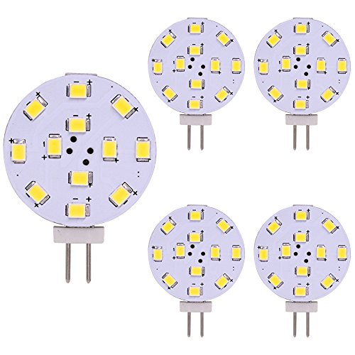 Bombilla LED G4, Equivalente de 35 vatios, Disco LED Bi-Pin, Pasador lateral JC, 12V-24V AC / DC de bajo voltaje, CRI 85, 350 lúmenes, WeiXuan, Paquete 5 (Blanco)