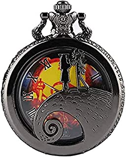 Vintage Nightmare Quartz Men's And Women's Pocket Watch (Black)